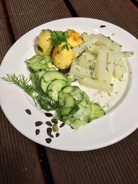 Kohlrabi und Gurkensalat
