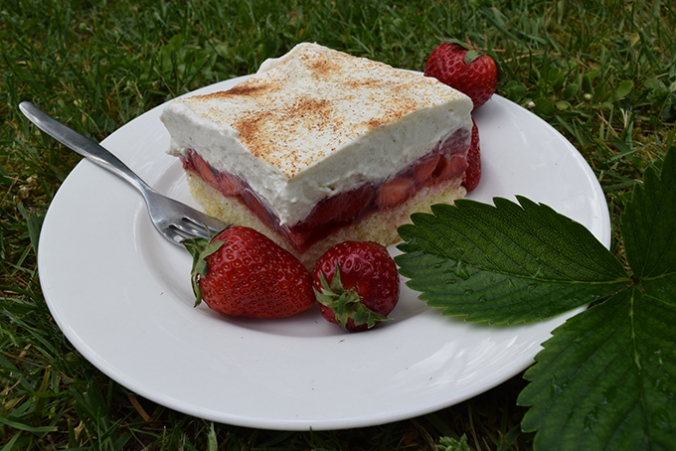 Erdbeer-Schmand-Kuchen mit Erdbeeren dekoriert