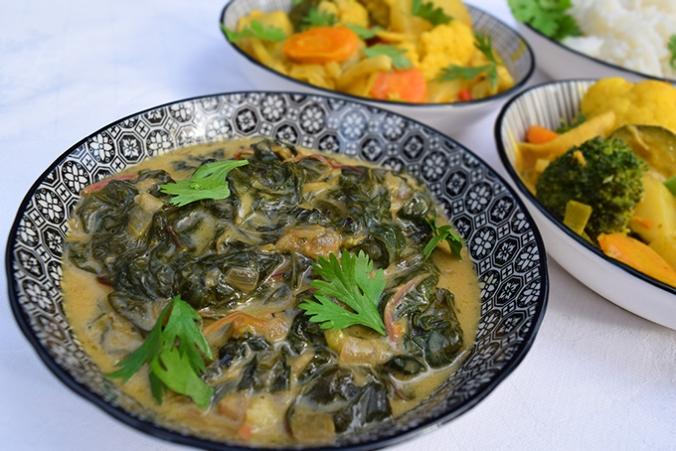 Gemüsecurry Mangold in Schälchen