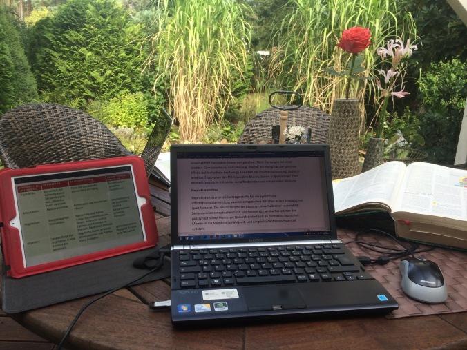 Computer auf Gartentisch
