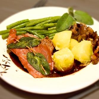 Saltimbocca Bohnengemüse Kartoffeln