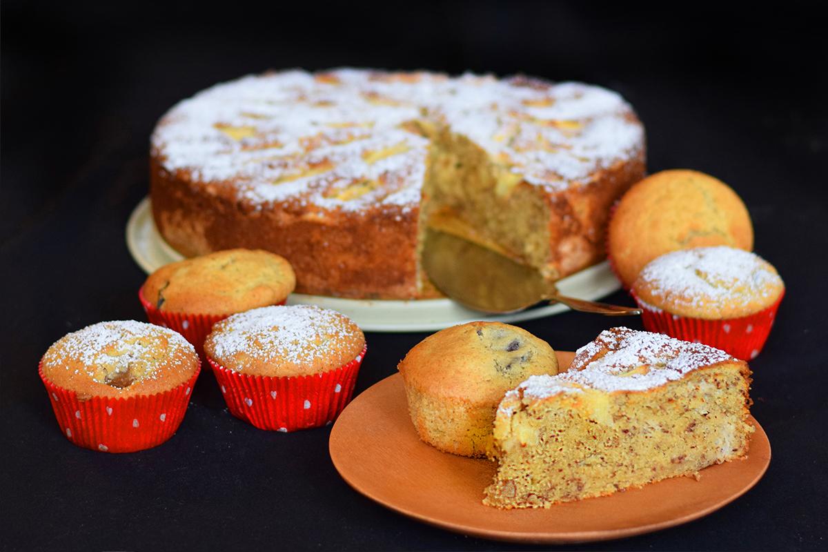 Apfelkuchen und Pflaumenmuffins